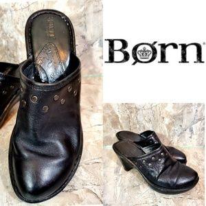 Born LEATHER Studded Black Clogs. Size 7